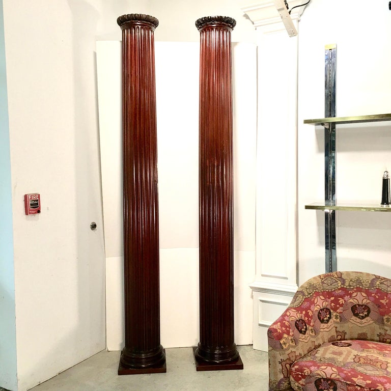 American Pair of Classical Mahogany Fluted Columns For Sale