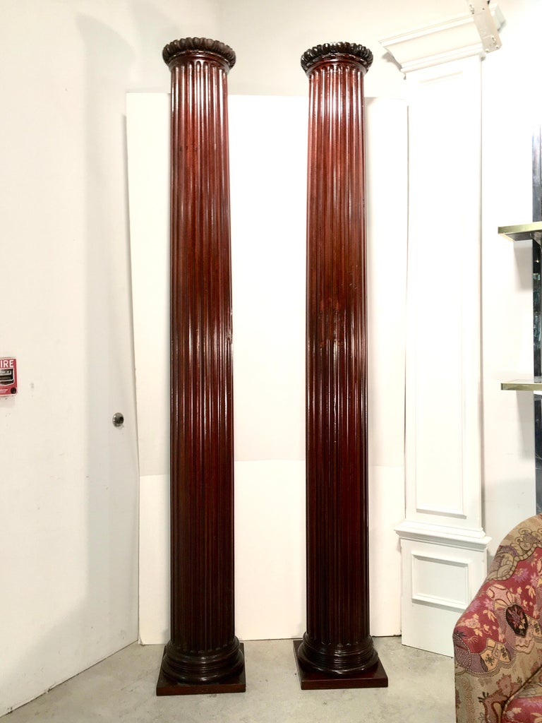 Pair of Classical Mahogany Fluted Columns For Sale 2