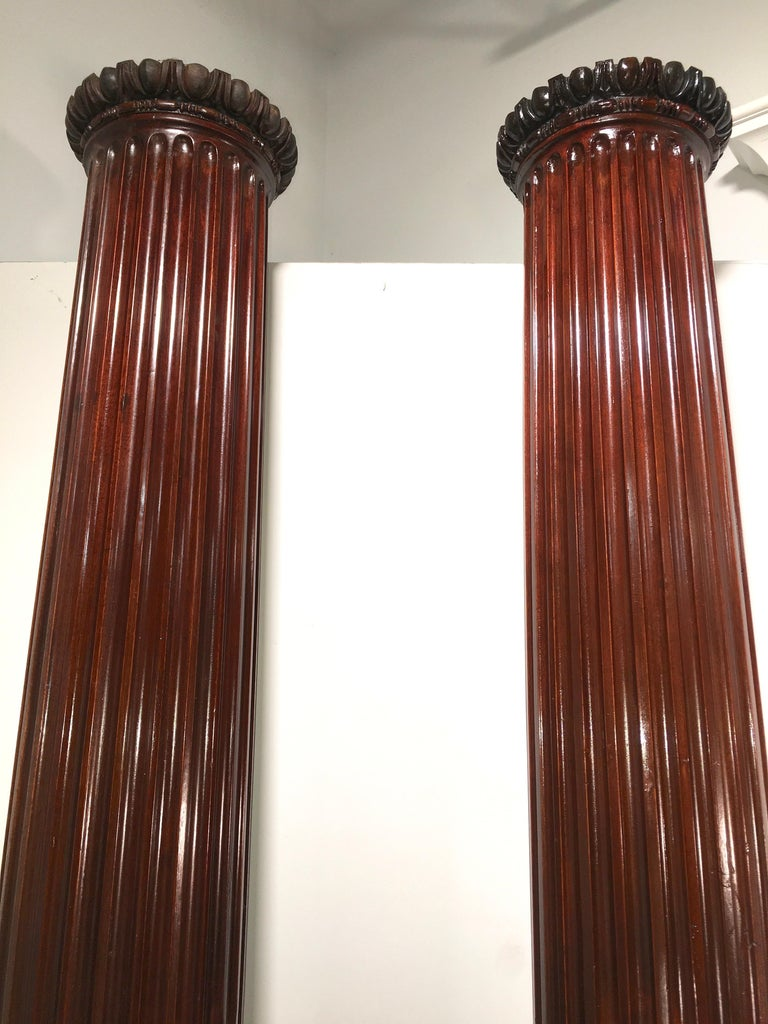 Pair of Classical Mahogany Fluted Columns For Sale 3