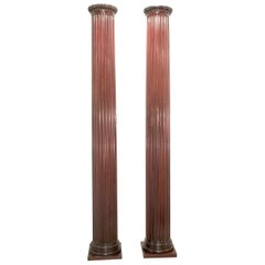 Pair of Classical Mahogany Fluted Columns
