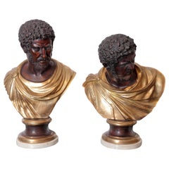 Pair of Classical Roman Bronze Busts