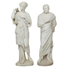 """Pair of Classical Sculpture Statues """"Diana of Gabii"""" & """"Aeschines"""", 19th Cent."""
