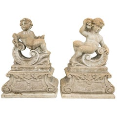 Pair of Classical Stone Composite Putti Garden Statues Holding Wheat and Grapes