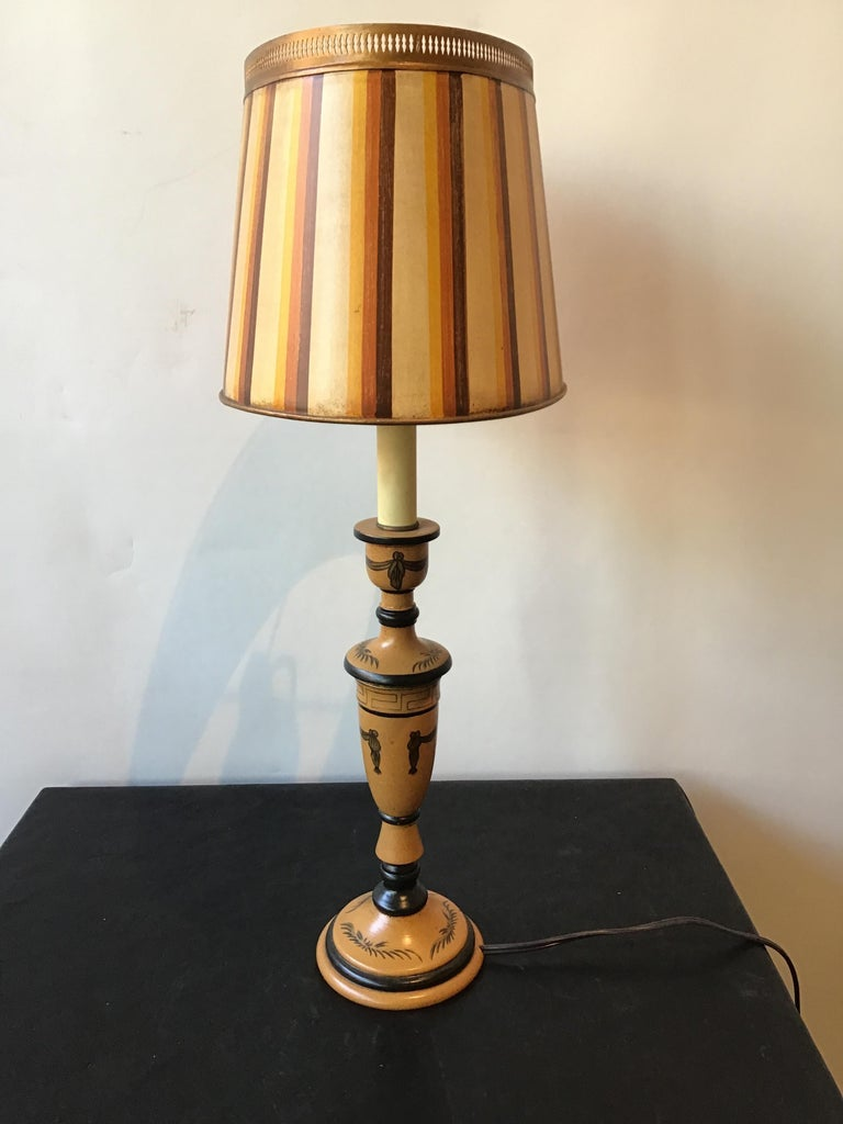 Metal Pair of Classical Tole Lamps For Sale