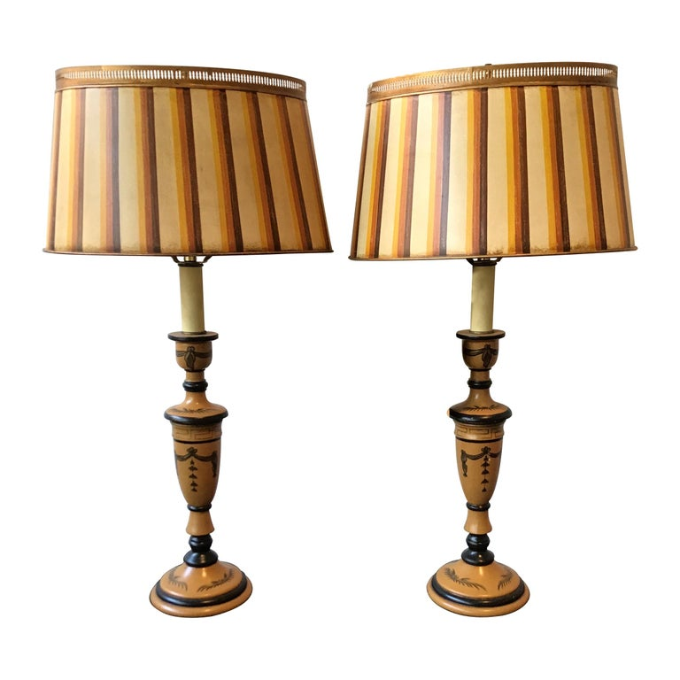 Pair of Classical Tole Lamps For Sale