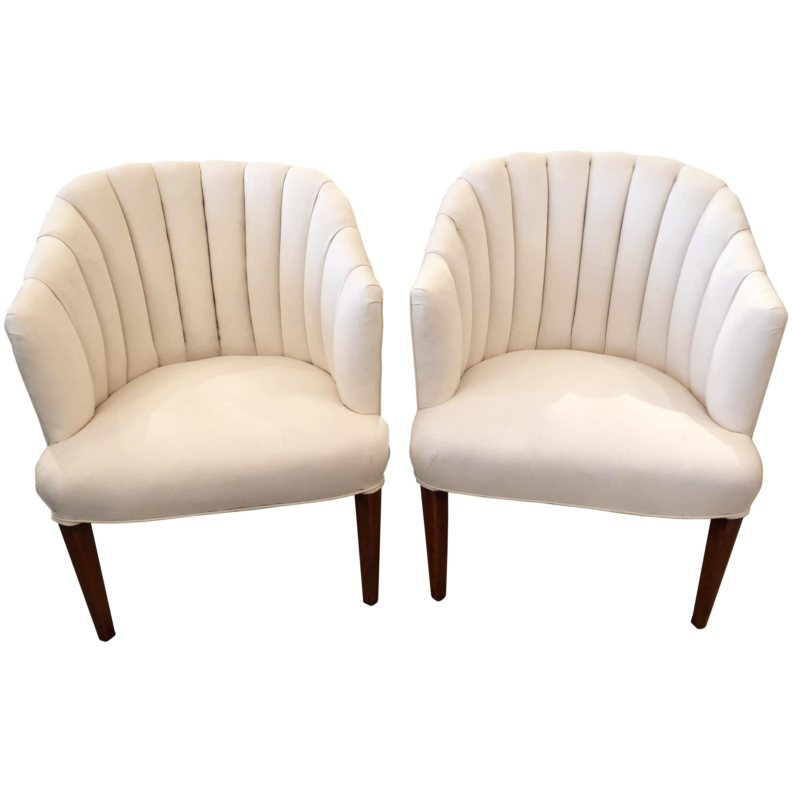 Pair of Classy Newly Upholstered Channel Back Club Chairs
