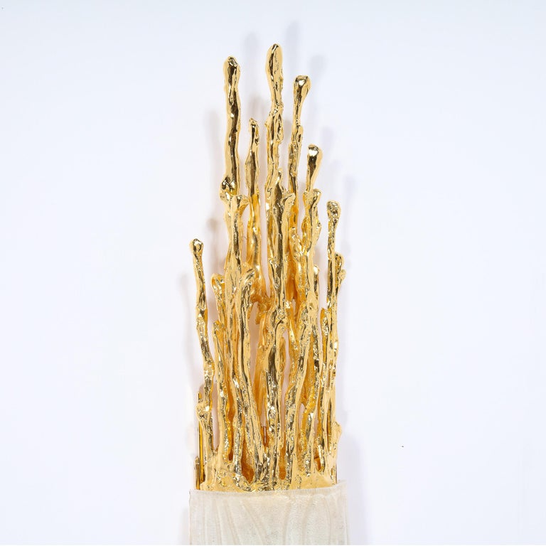 Pair of Claude Boeltz 24-Kt Gold Plated Exploded Bronze & Textured Glass Sconces In Excellent Condition For Sale In New York, NY