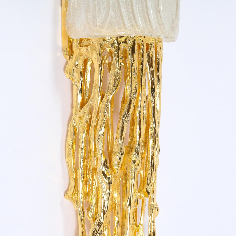 Pair of Claude Boeltz 24-Kt Gold Plated Exploded Bronze & Textured Glass Sconces For Sale 2