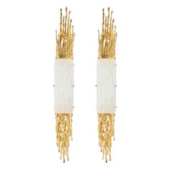 Pair of Claude Boeltz 24-Kt Gold Plated Exploded Bronze & Textured Glass Sconces