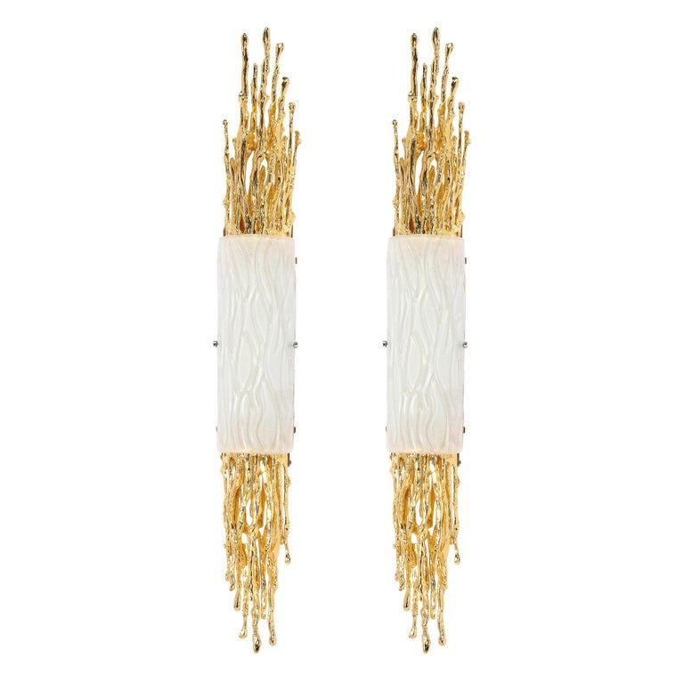 Pair of Claude Boeltz 24-Kt Gold Plated Exploded Bronze & Textured Glass Sconces For Sale