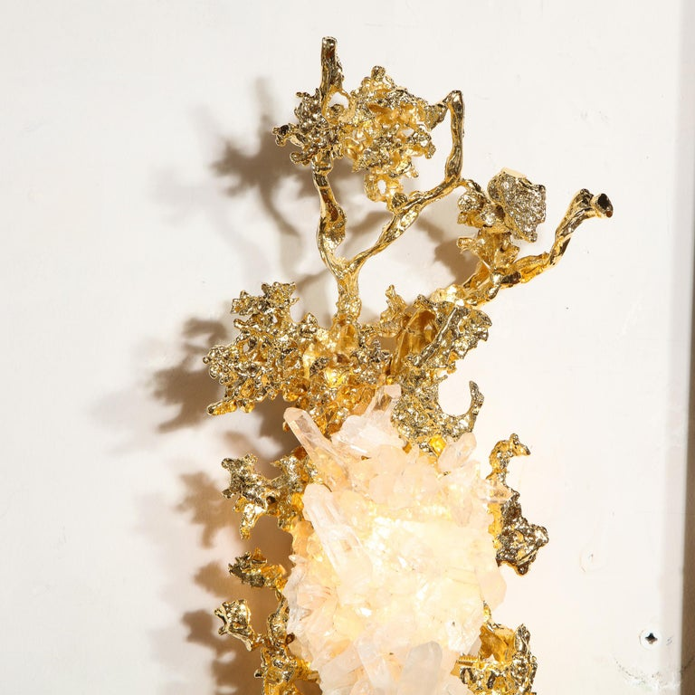 Pair of Claude Boeltz 24kt Gold-Plated Exploded Bronze Sconces w/ Rock Crystals For Sale 4