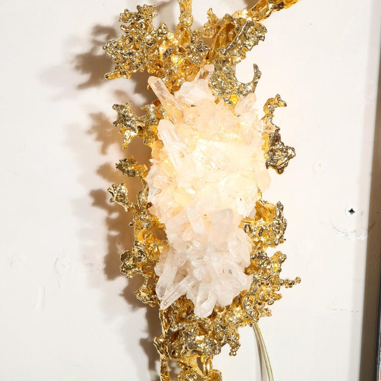 Pair of Claude Boeltz 24kt Gold-Plated Exploded Bronze Sconces w/ Rock Crystals For Sale 5