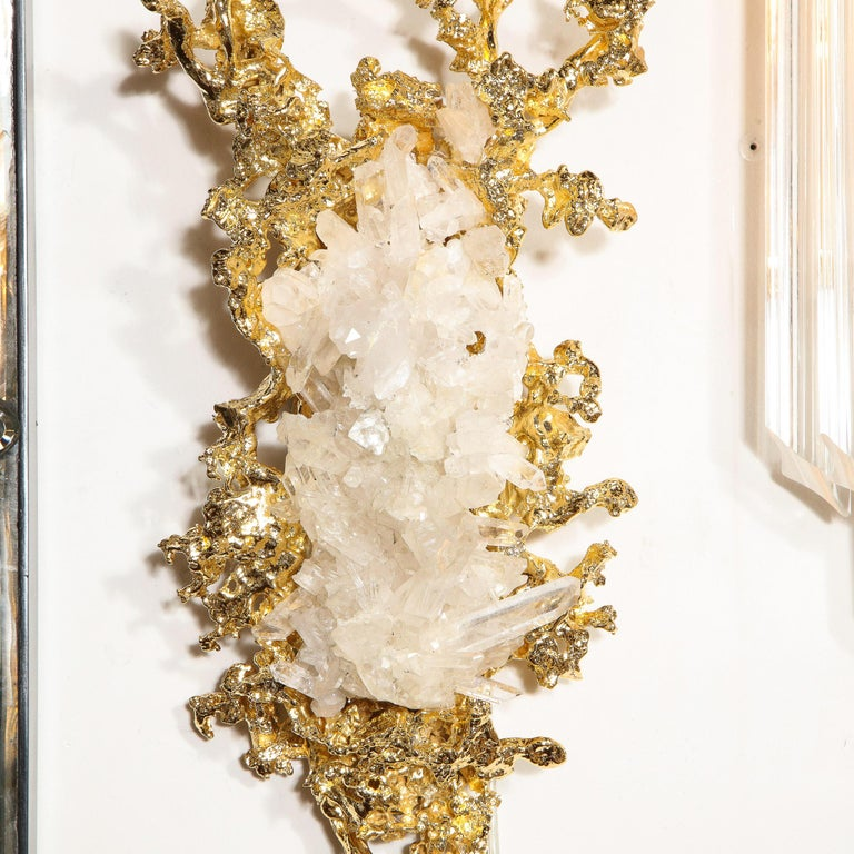 Pair of Claude Boeltz 24kt Gold-Plated Exploded Bronze Sconces w/ Rock Crystals For Sale 7