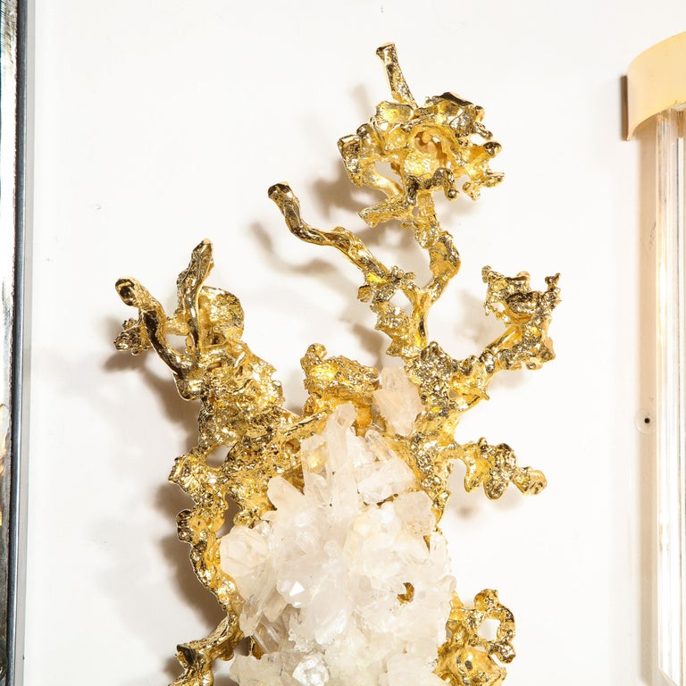 Pair of Claude Boeltz 24kt Gold-Plated Exploded Bronze Sconces w/ Rock Crystals For Sale 8
