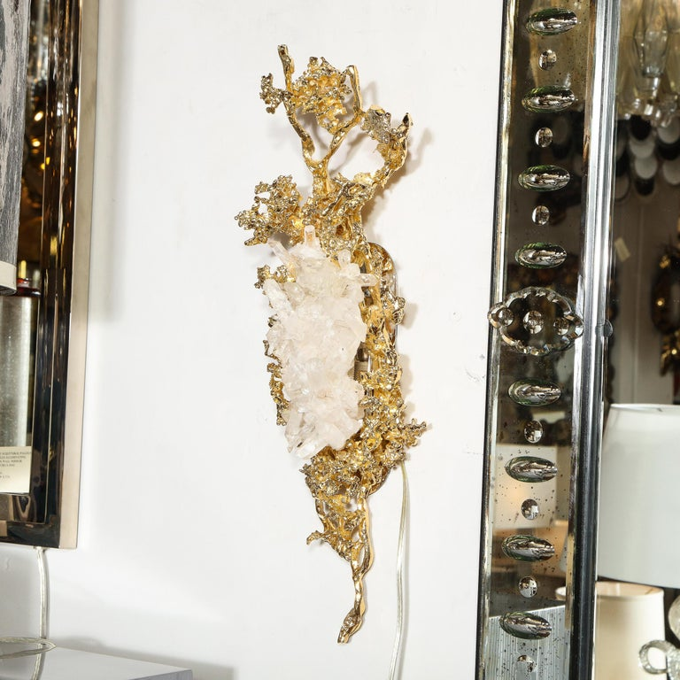 Pair of Claude Boeltz 24kt Gold-Plated Exploded Bronze Sconces w/ Rock Crystals For Sale 9