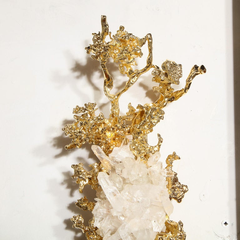 Pair of Claude Boeltz 24kt Gold-Plated Exploded Bronze Sconces w/ Rock Crystals For Sale 10