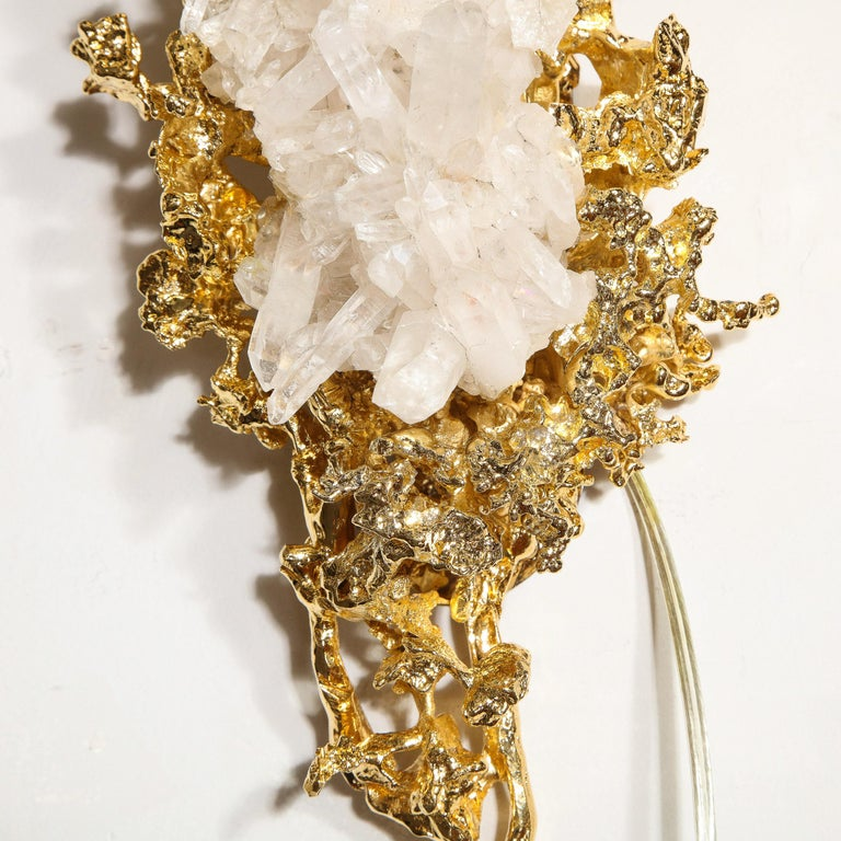 Pair of Claude Boeltz 24kt Gold-Plated Exploded Bronze Sconces w/ Rock Crystals For Sale 12