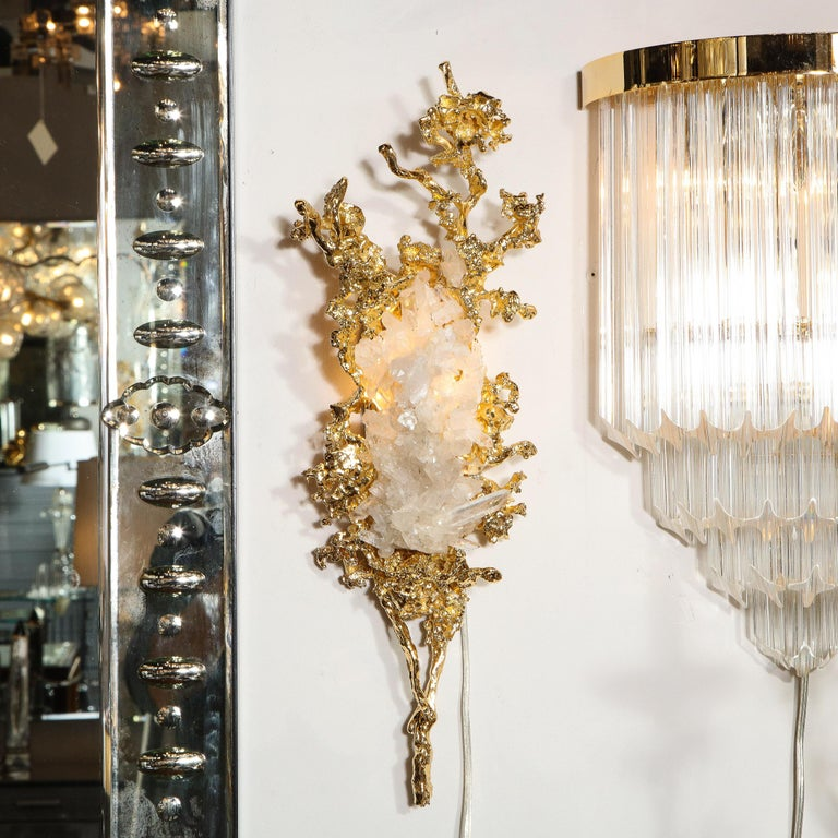 French Pair of Claude Boeltz 24kt Gold-Plated Exploded Bronze Sconces w/ Rock Crystals For Sale