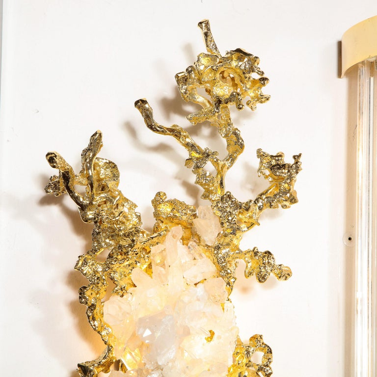 Pair of Claude Boeltz 24kt Gold-Plated Exploded Bronze Sconces w/ Rock Crystals In Excellent Condition For Sale In New York, NY