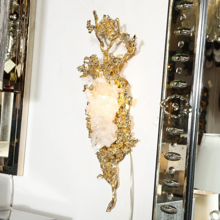Pair of Claude Boeltz 24kt Gold-Plated Exploded Bronze Sconces w/ Rock Crystals For Sale 2