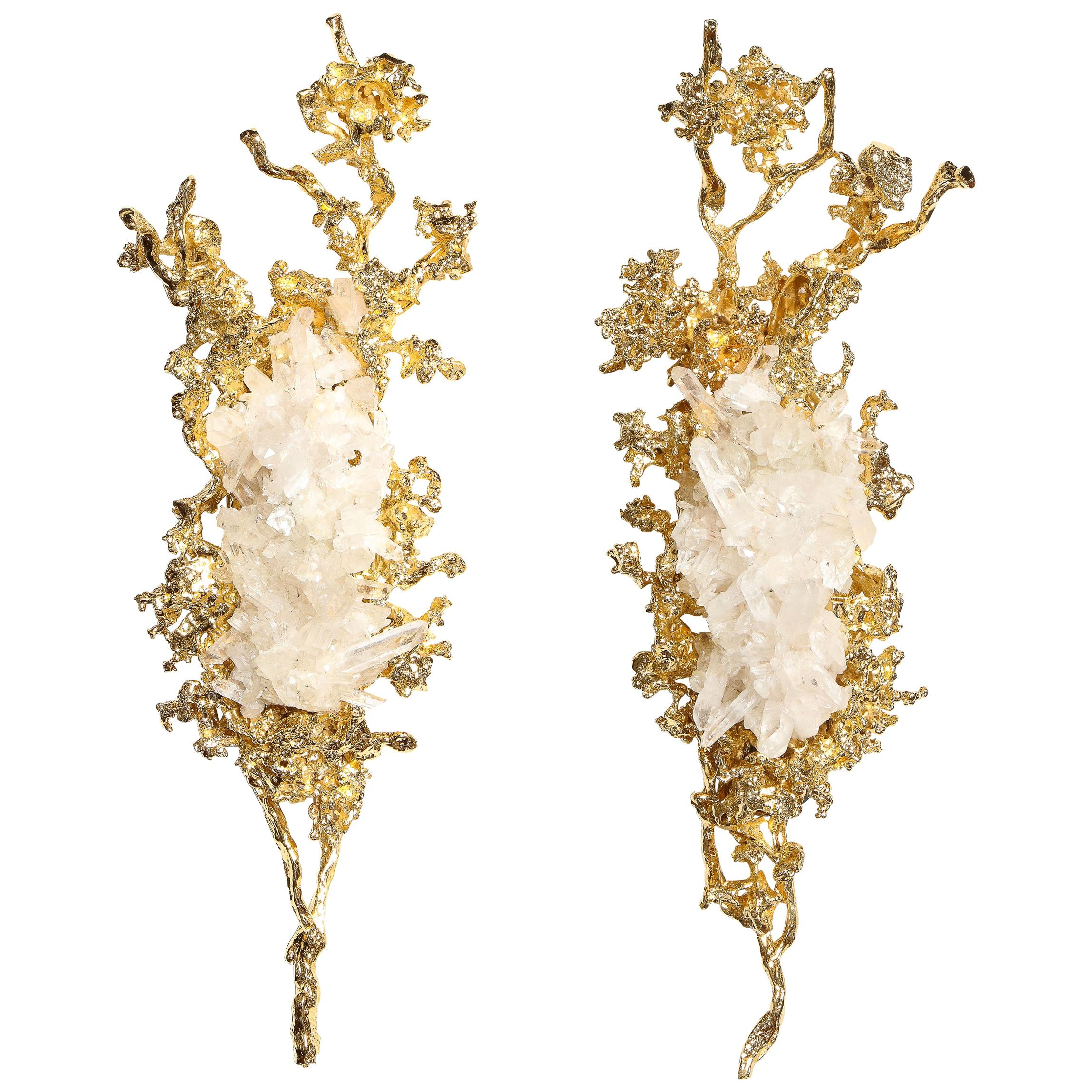 Pair of Claude Boeltz 24kt Gold-Plated Exploded Bronze Sconces w/ Rock Crystals