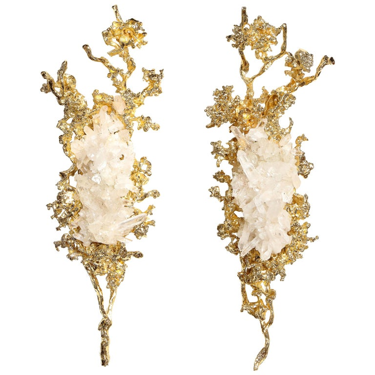 Pair of Claude Boeltz 24kt Gold-Plated Exploded Bronze Sconces w/ Rock Crystals For Sale