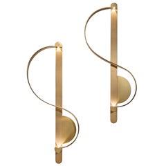 Pair of 'Clé De Sol' Sconces in Gilded Brushed Brass by Charles Kalpakian