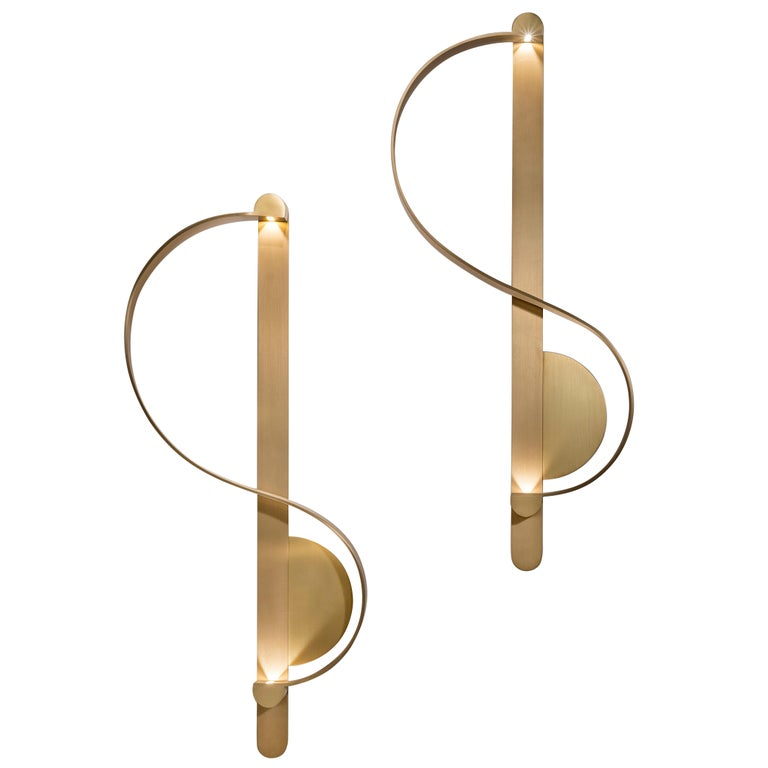 Pair of 'Clé De Sol' Sconces in Gilded Brushed Brass by Charles Kalpakian  For Sale