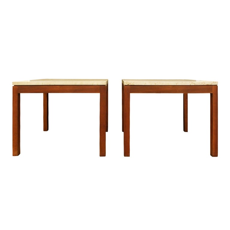 Pair of clean line end tables with bases in teak and tops in Italian travertine, American, 1950s.