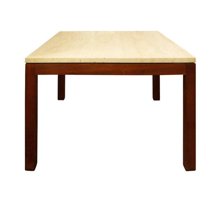 Mid-Century Modern Pair of Clean Line End Tables in Teak and Travertine, 1970s For Sale