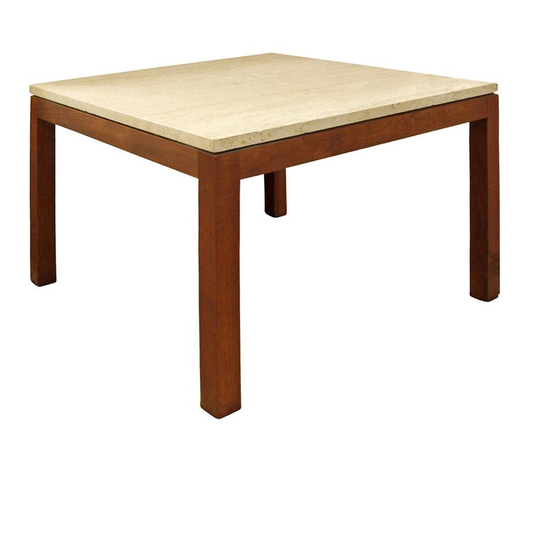 American Pair of Clean Line End Tables in Teak and Travertine, 1970s For Sale