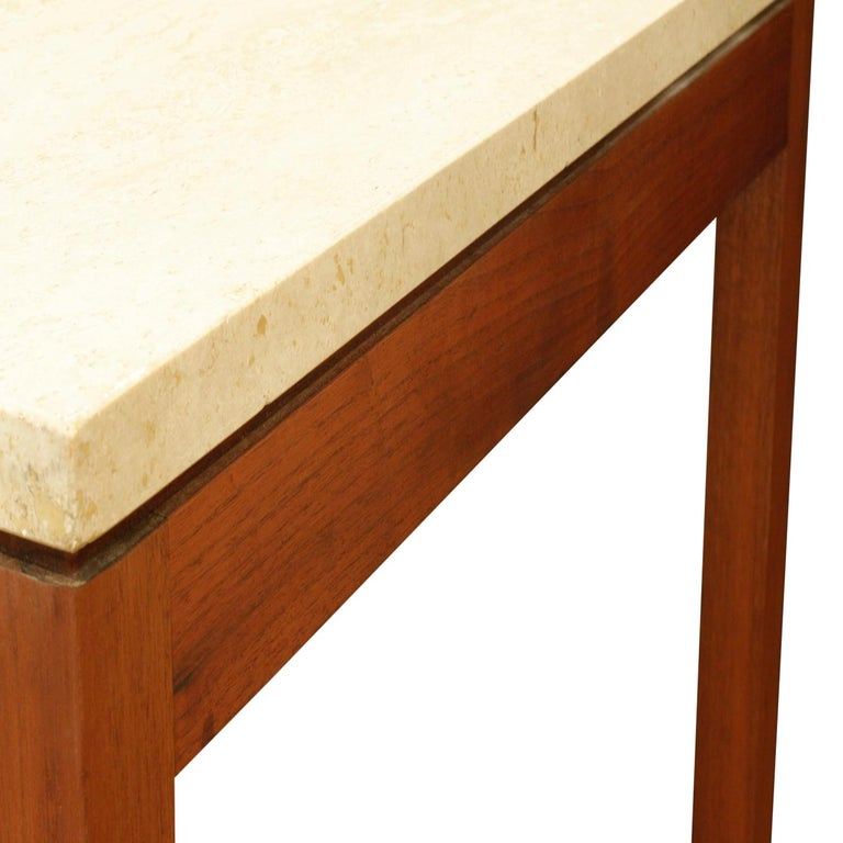 Mid-20th Century Pair of Clean Line End Tables in Teak and Travertine, 1970s For Sale