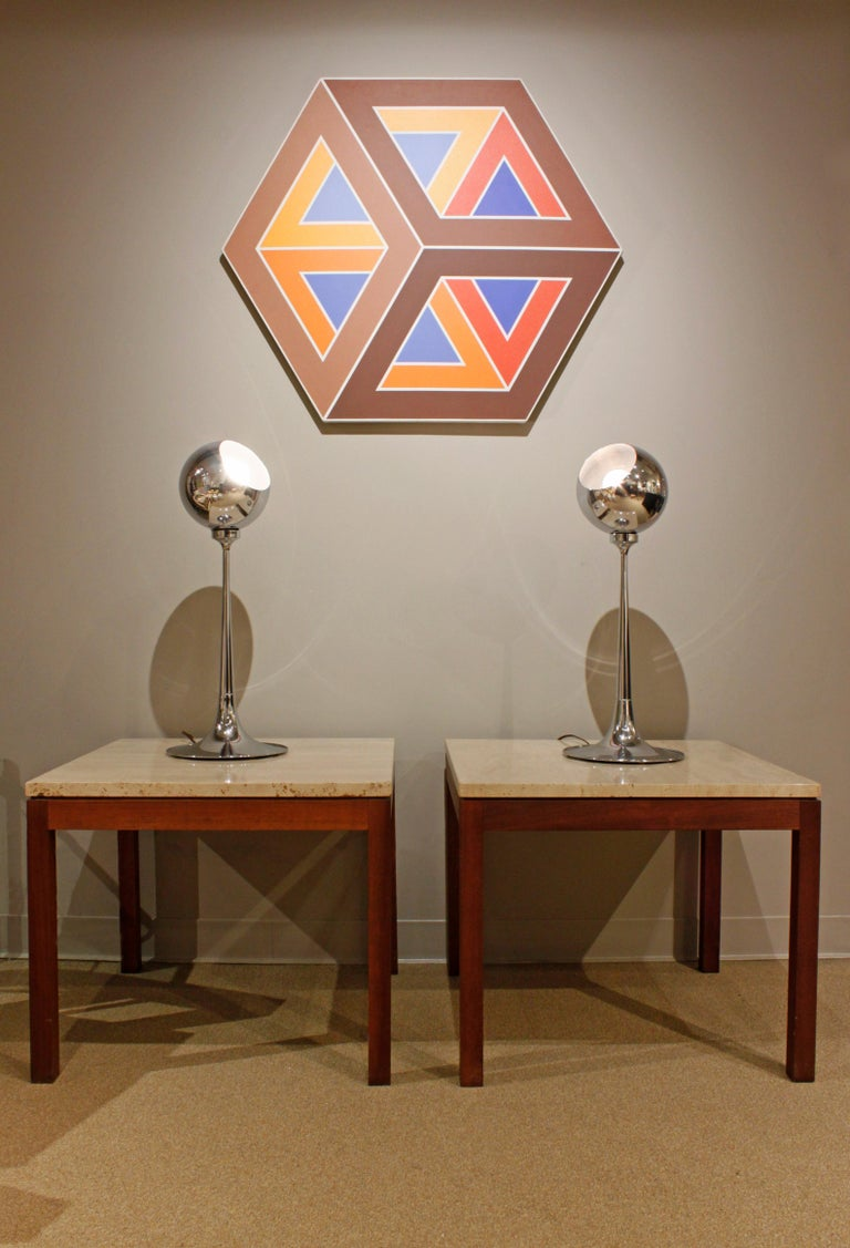 Pair of Clean Line End Tables in Teak and Travertine, 1970s For Sale 1