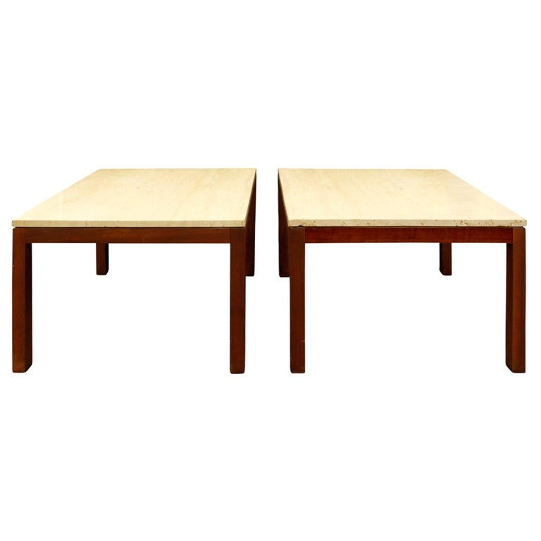 Pair of Clean Line End Tables in Teak and Travertine, 1970s For Sale