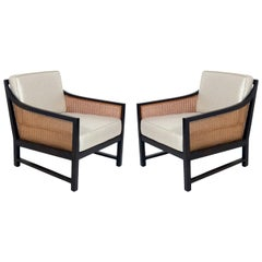 Pair of Clean Lined Caned Lounge Chairs