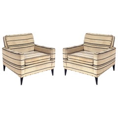 Pair of Clean Lined Lounge Chairs attributed to Dunbar