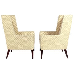 Pair of Clean Lined Midcentury Wing Chairs