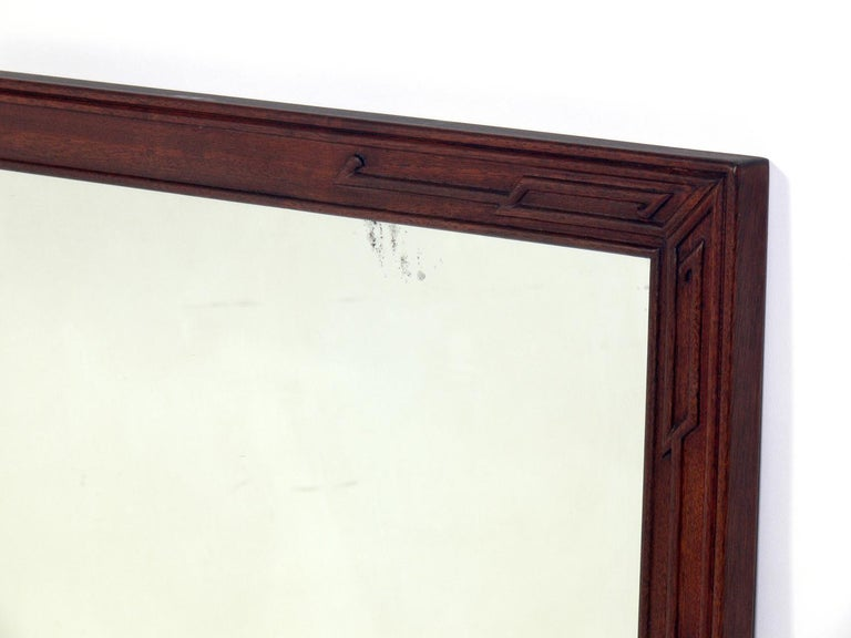 Chinoiserie Pair of Clean Lined Mirrors with Subtle Asian Design For Sale