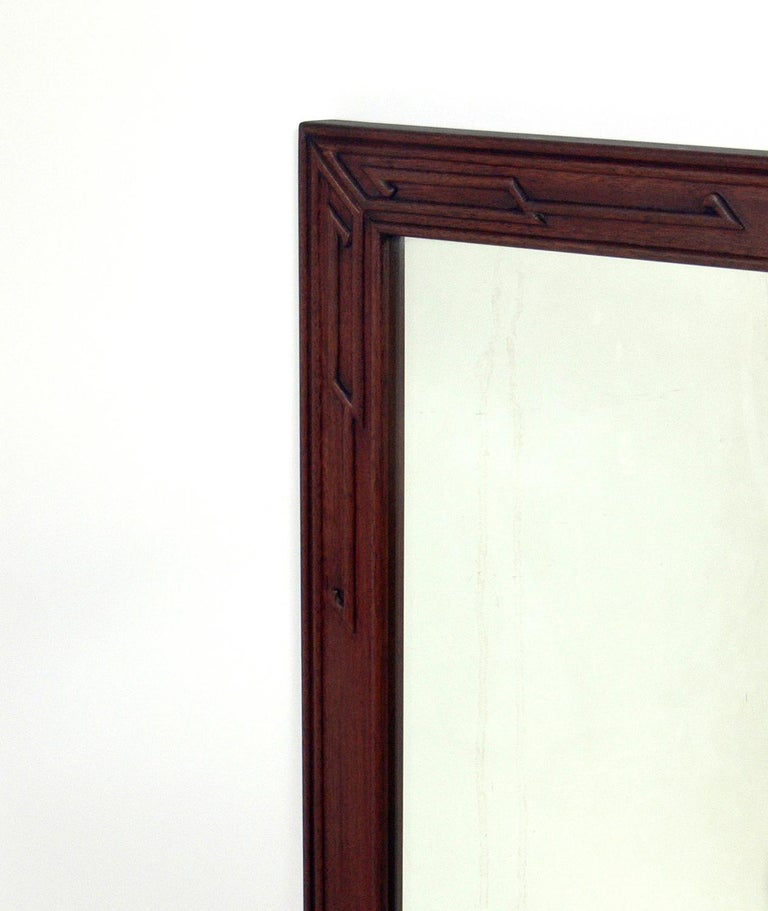 Pair of Clean Lined Mirrors with Subtle Asian Design In Good Condition For Sale In Atlanta, GA