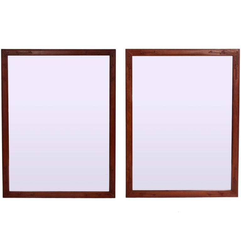 Pair of Clean Lined Mirrors with Subtle Asian Design For Sale