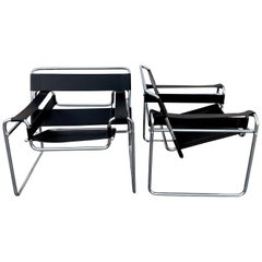 Pair of Clean Vintage Black Leather and Chrome B-3 Wassily Chairs