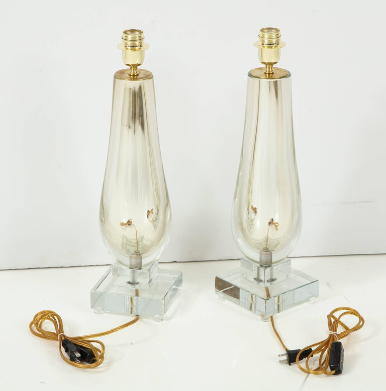 Pair of Clear and Gold Mirrored Murano Glass Lamps, Italy, 2017 For Sale 3