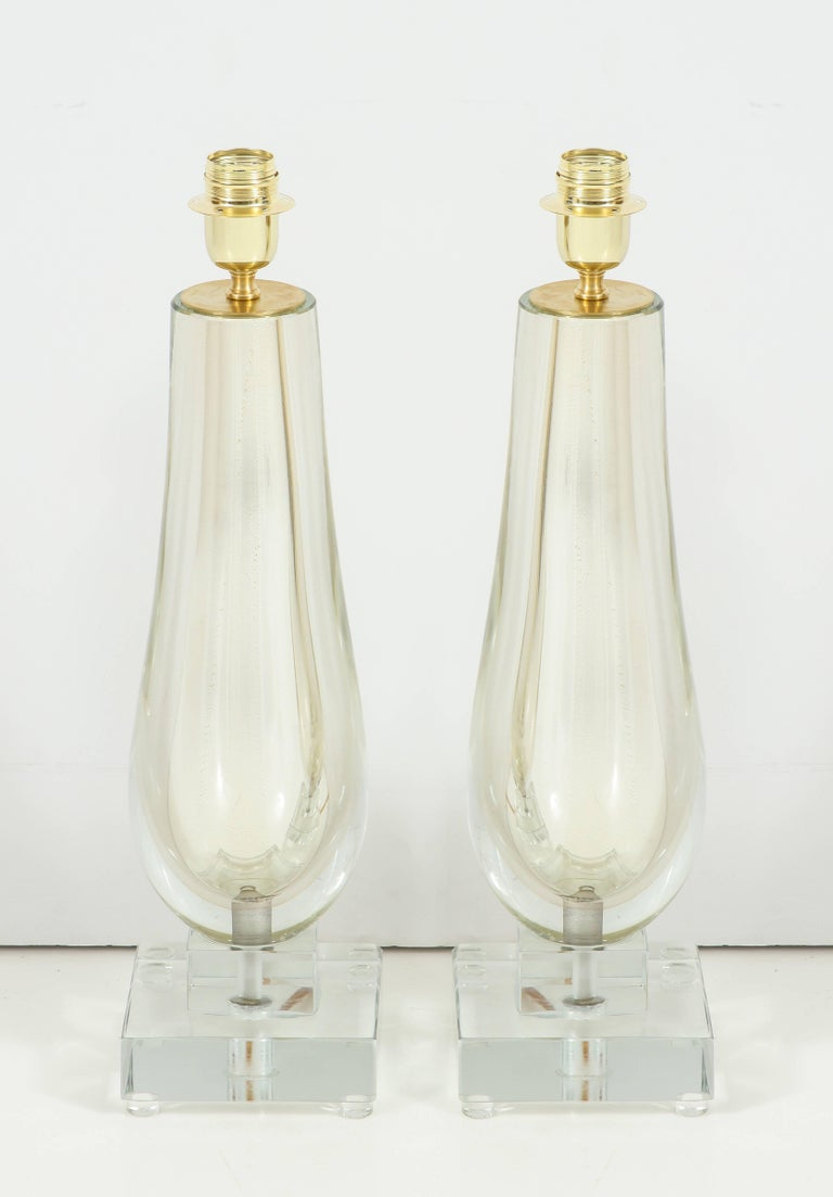 Contemporary Pair of Clear and Gold Mirrored Murano Glass Lamps, Italy, 2017 For Sale