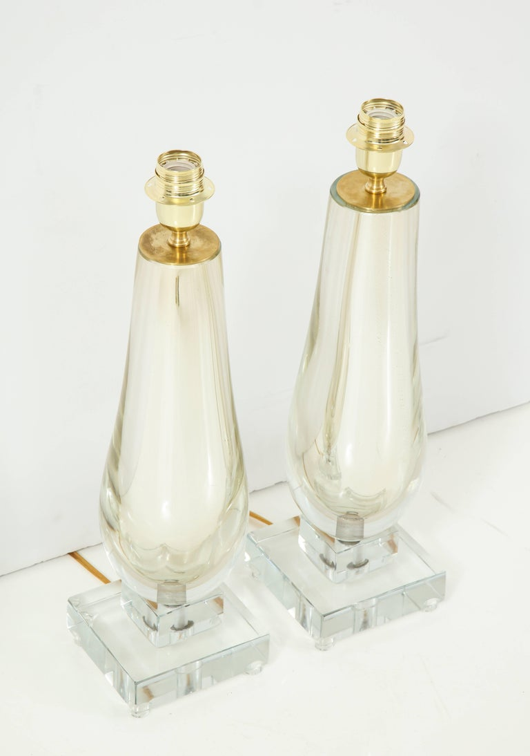 Pair of Clear and Gold Mirrored Murano Glass Lamps, Italy, 2017 For Sale 1