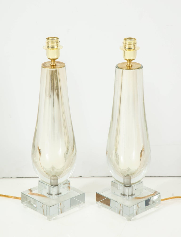 Pair of Clear and Gold Mirrored Murano Glass Lamps, Italy, 2017 For Sale 2