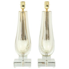 Pair of Clear and Gold Mirrored Murano Glass Lamps, Italy