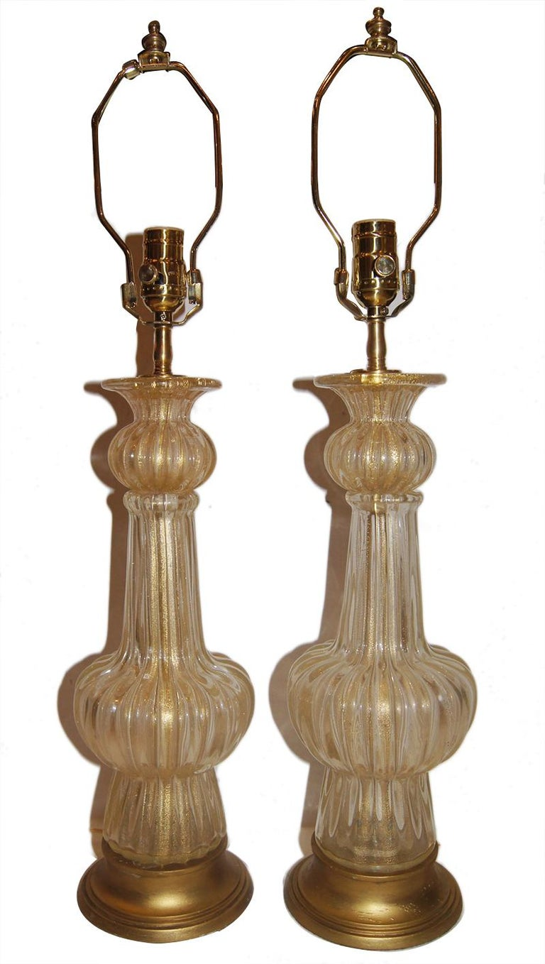 Mid-20th Century Pair of Clear and Gold Murano Table Lamps For Sale