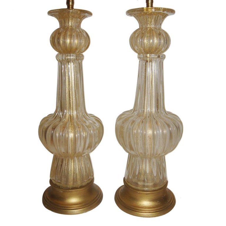 Pair of Clear and Gold Murano Table Lamps For Sale