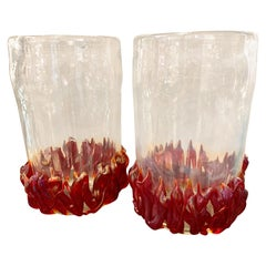 Pair of Clear and Red Ruby Murano Glass Vases Signed by Costantini, 1980s