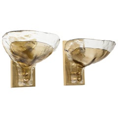 Pair of Clear and Tobacco Glass Sconces by Mazzega